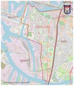 Karte Einsatzgebiet Hamburg Wilehlmsburg Reiherstiegviertel Groß-Sand